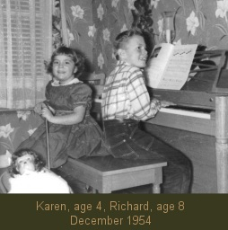 Carpenters, Karen age 4, Richard age 8, December, 1954