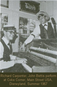 Richard Carpenter, John Bettis perform at Coke Corner, Main Street USA, Disneyland Summer 1967