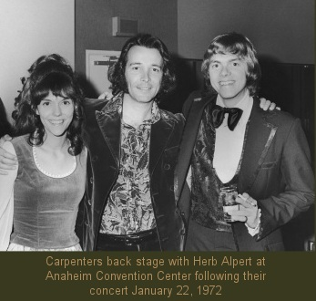Carpenters with Herb Alpert, Anaheim Convention Center January 1972