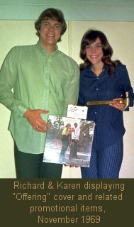 "Carpenters displaying ""Offering"" cover and related promotional items, November 1969"