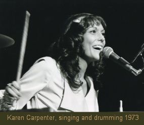 Karen Carpenter singing and drumming 1973
