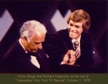 "Victor Borge, Richard Carpenter, on the set of ""Carpenters Very First TV Special"" October 1, 1976"