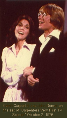 "Karen Carpenter and John Denver on the set of ""Carpenters Very First TV Special"" October 2, 1976"
