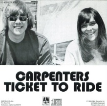Carpenters TICKET TO RIDE album, back cover, Lake Tahoe, 1969